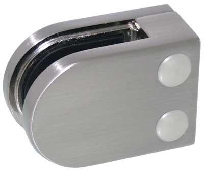 Glasklemme Modell 05, Anschluss für Vierkantrohr, Zinkdruckguss Edelstahleffekt